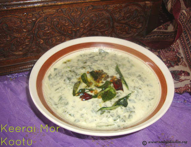 images of Keerai Mor Kootu / Mor Kootu Recipe / Mor Keerai / More Kootu Recipe / Spinach in Yogurt Sauce