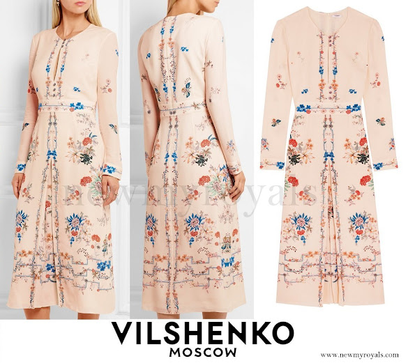 Crown Princess Mary wore VILSHENKO Jery Floral Print Dress