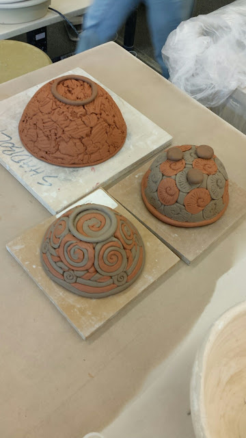 Coil clay / pottery bowls by Lily L, in progress.