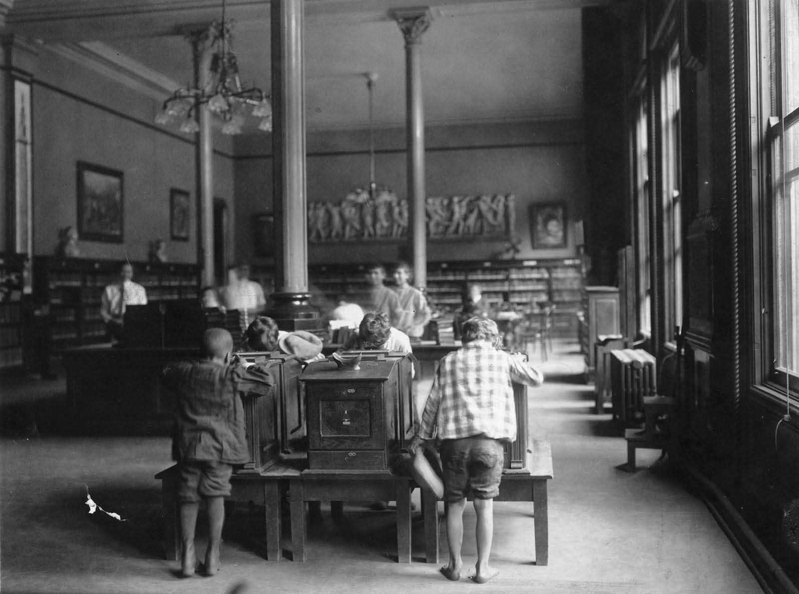Children inside the Old Main.