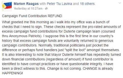Excess Funds Of Duterte During His Campaign To Be Returned To The Contributors! Unbelievable!