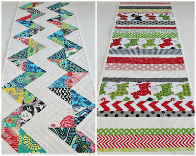 Quilted Reversible Holiday Table Runner | Half Square Triangles | © Saltwater Quilts 2013