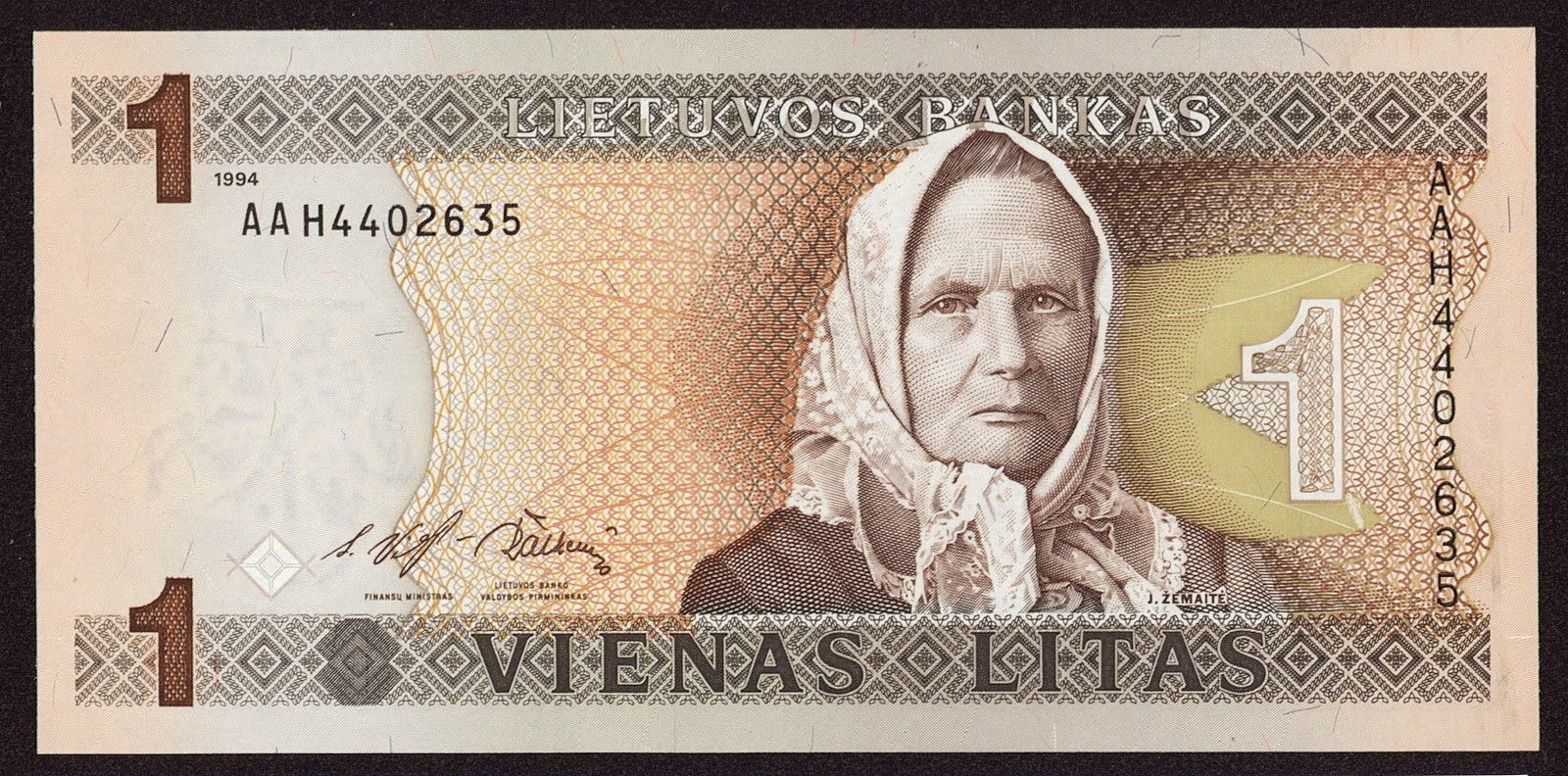Banknotes of Lithuania 1 Litas banknote 1994 Julija Zemaite