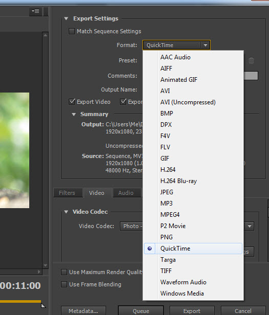 Export QuickTime MOV files from Premier Pro for Stock