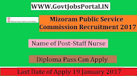 Mizoram Public Service Commission Recruitment 2017– 25 Staff Nurse