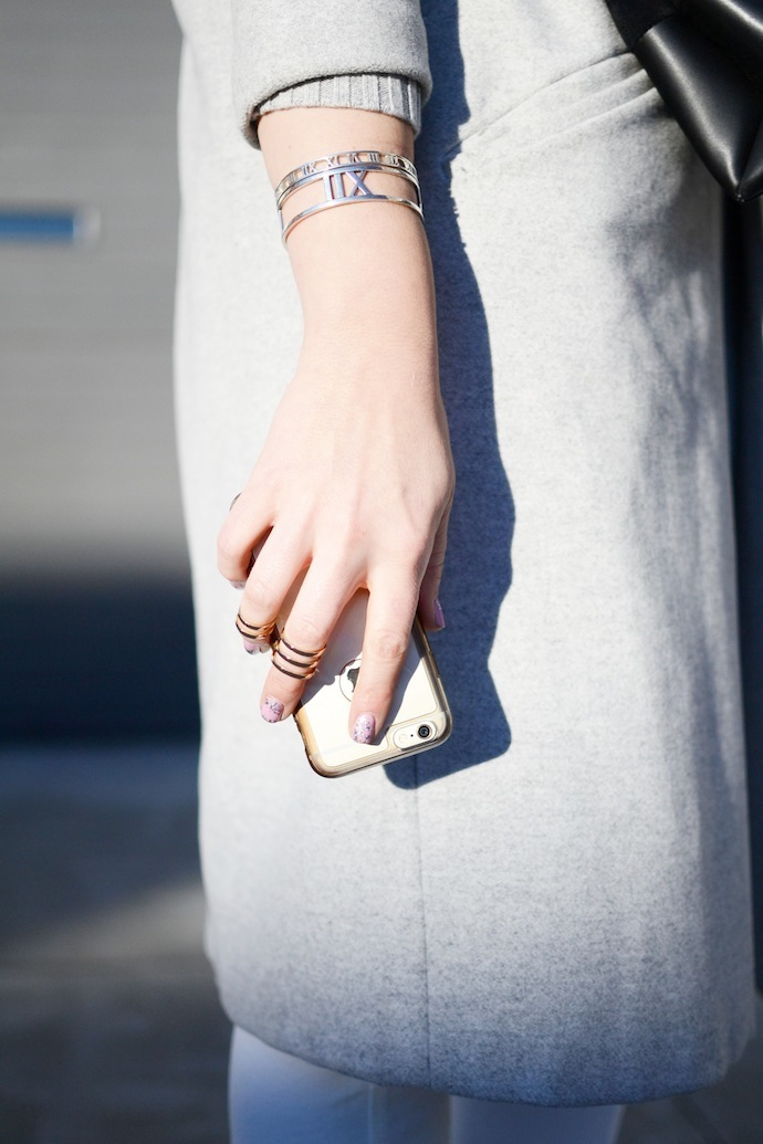 Gap cashmere sweater, white overalls, grey wool coat, Adidas superstars Vancouver fashion blogger Le Chateau rings