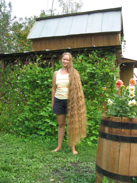 Woman with Amazingly Very Long Hair