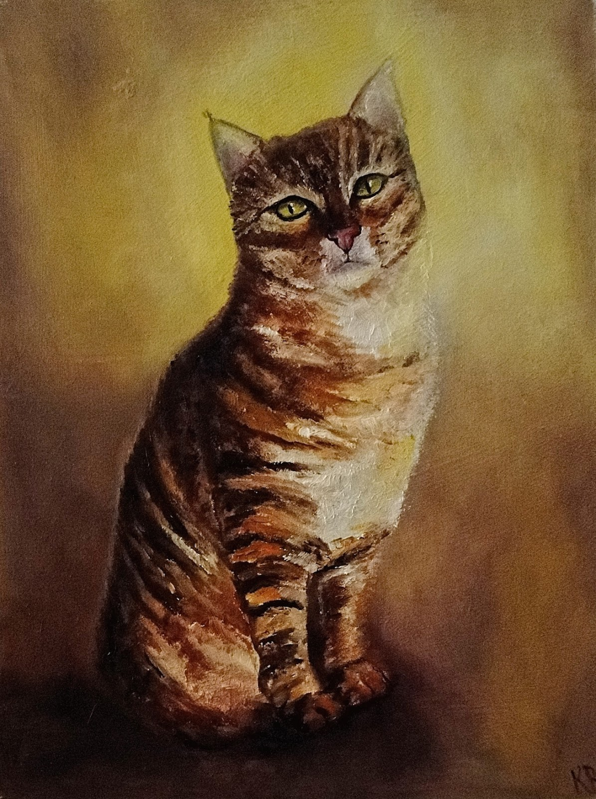 oil painting of a tabby cat on a yellow background. A pet portrait by Karen from Devon, UK.