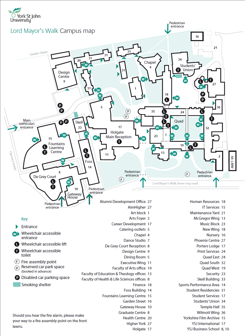 St Johns Campus Map.Management International Experience Yorkshire Map Of York St John