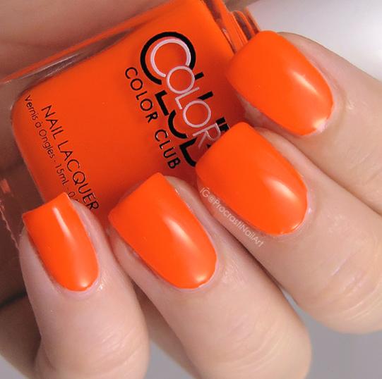 Neon orange creme nail polish
