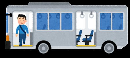 バスを降りる人のイラスト(男性・前のドア)