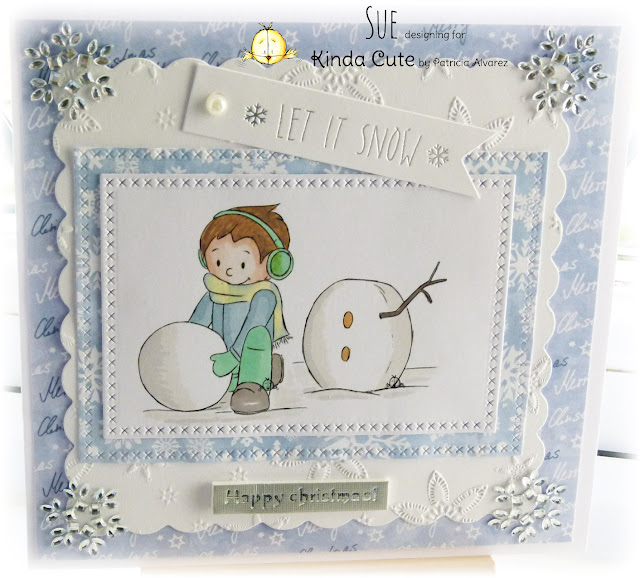 Card made using Boy building a snowman digital stamp