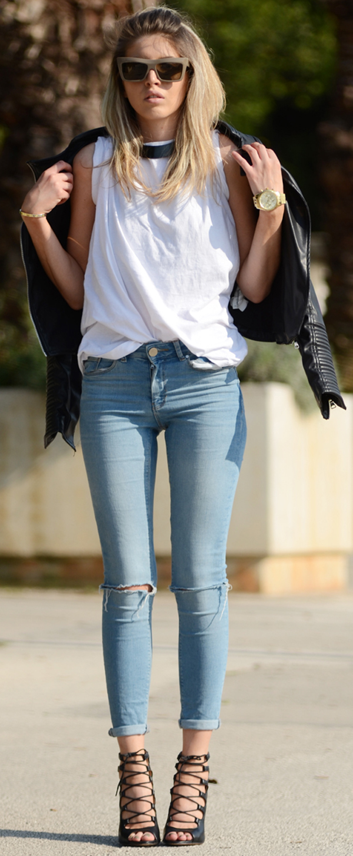 skinny jeans + jacket