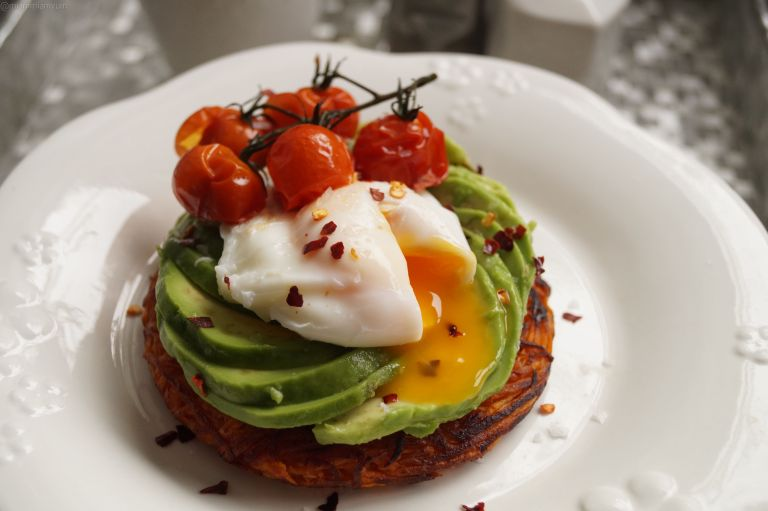 Sweet potato rosti, avocado & poached egg