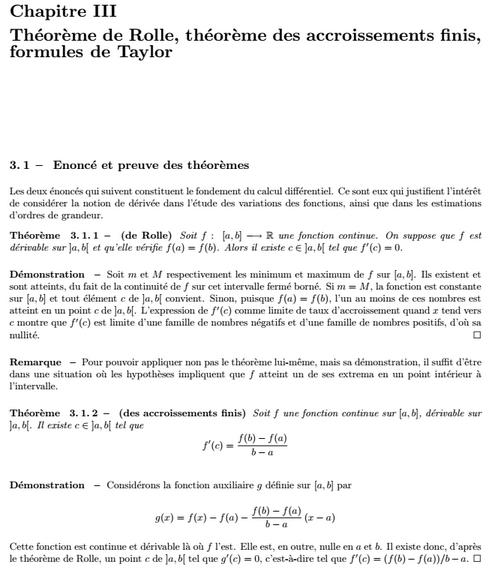Théorème de Rolle, Théorème des accroissements finis, formules de Taylor