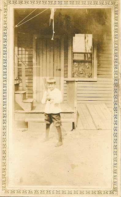 Stepping up to bat, a boy who's name I don't know. Do you? Probably associated with the Karvoius family of Elizabeth, NJ. Sometime in the 1920's. Collection of E. Ackerman