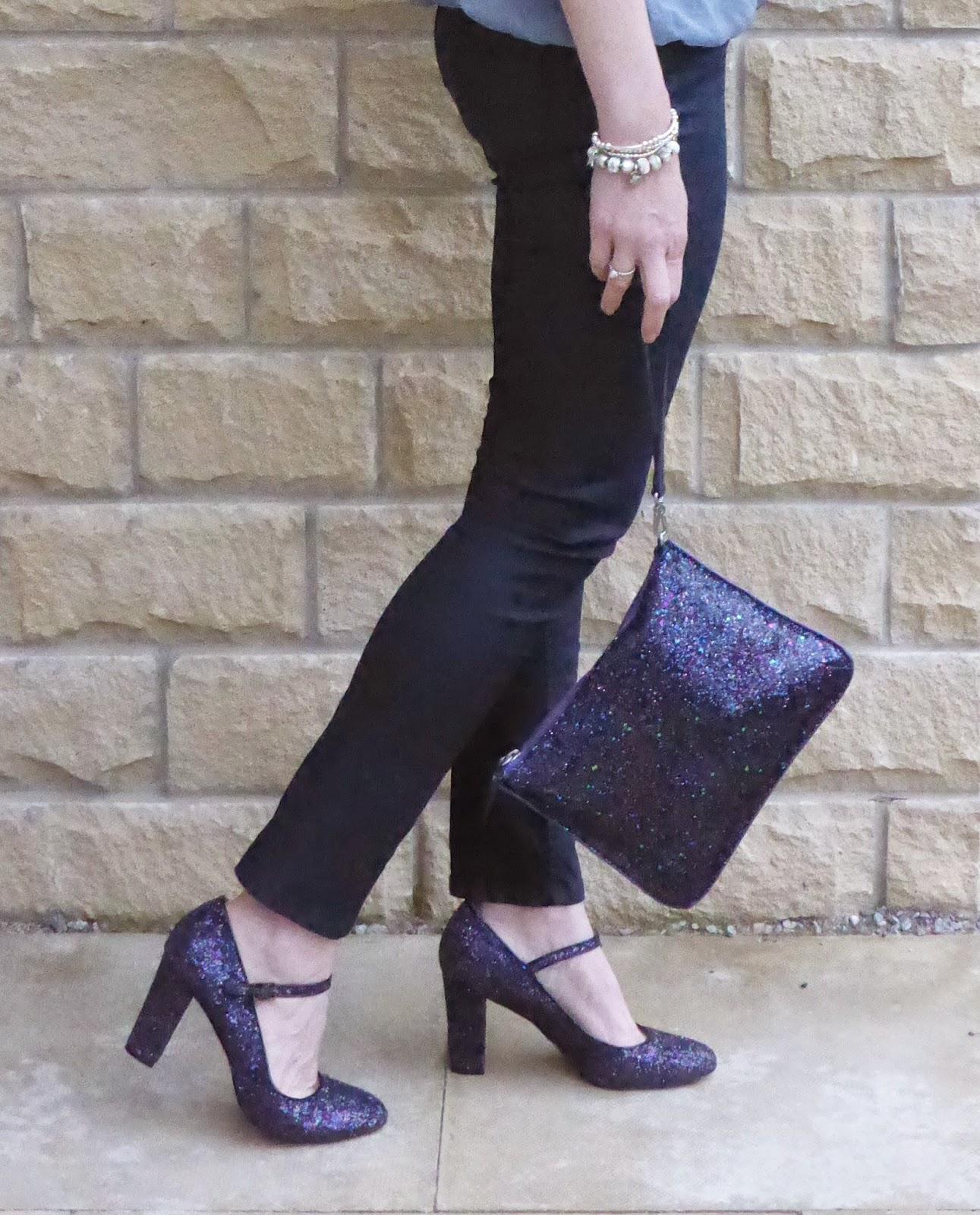 Boden multi  glitter Mary Janes. Boden Multi coloured clutch bag