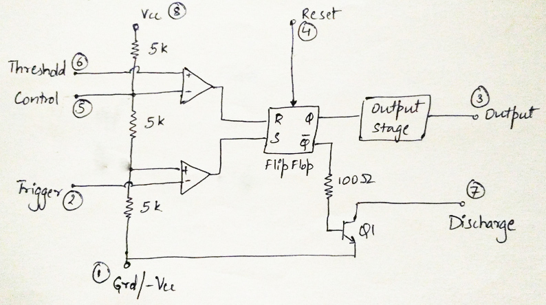 ElectroTuts: 555 Timer IC | Introduction on transformer diagram, potentiometer diagram, spdt switch diagram, xor diagram, relay diagram, capacitor diagram, spst switch diagram, resistor diagram, 7 segment display diagram,