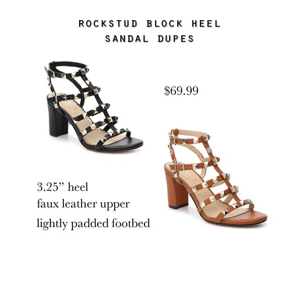 Valentino Rockstud block heel sandal dupes