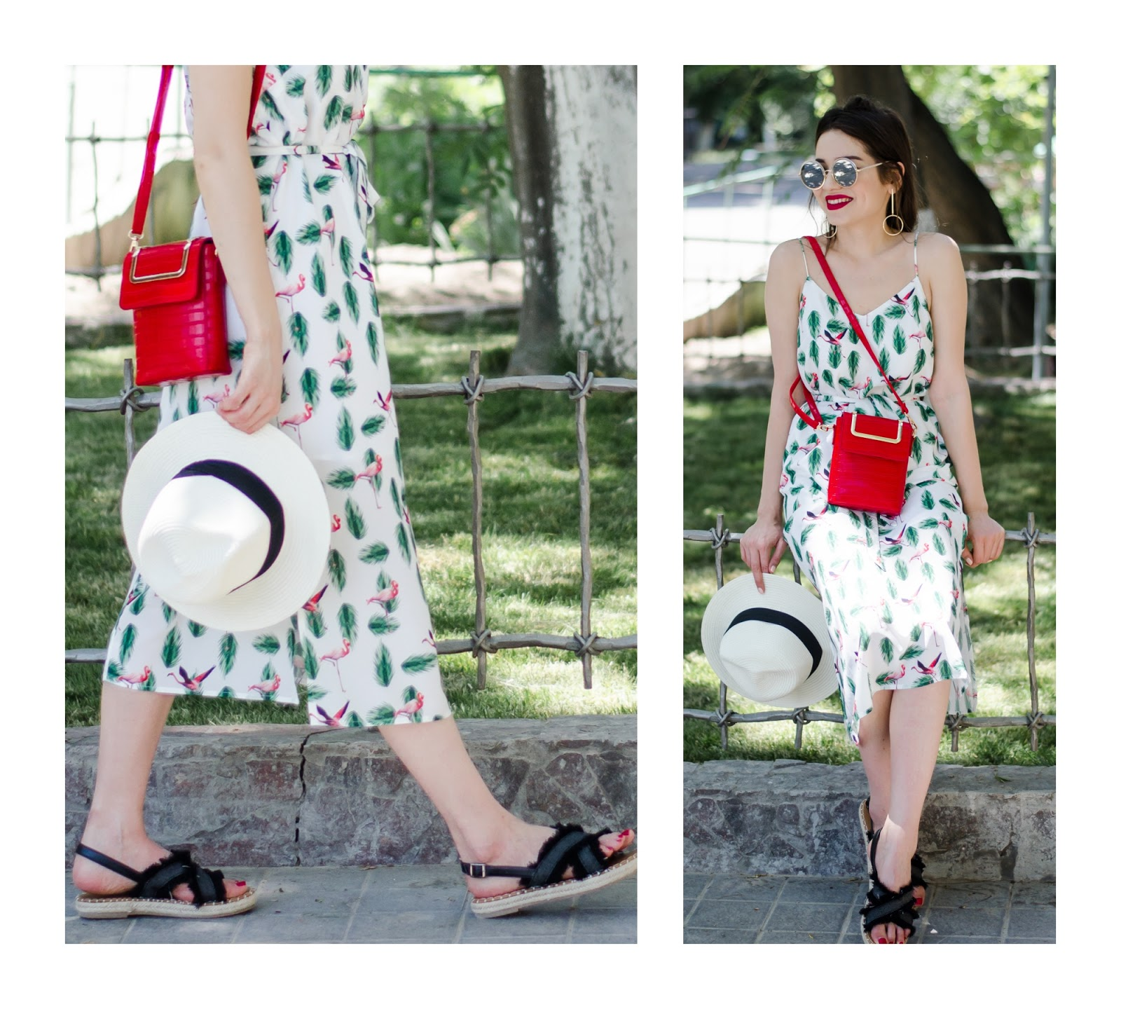 diyorasnotes diyora beta fashion blogger style outfitoftheday lookoftheday cami dress midi flat sandals straw hat red bag casual look