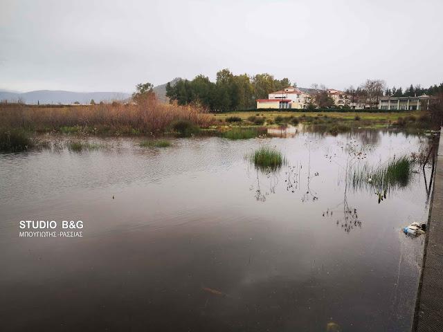 Λίμνη από τεράστιες ποσότητες νερού στις Εργατικές Κατοικίες Ναυπλίου (βίντεο)