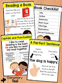 Print Concepts activities for first grade students- basic features of a sentence and book- common core ela aligned for reading foundational skills