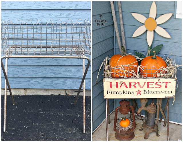 Pumpkins Displayed in Wire Basket www.organizedclutter.net