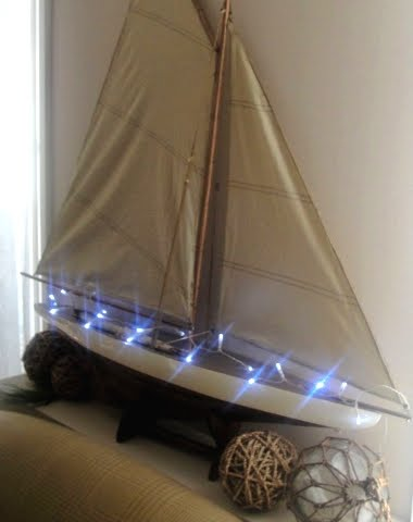 Christmas lights idea for model yacht