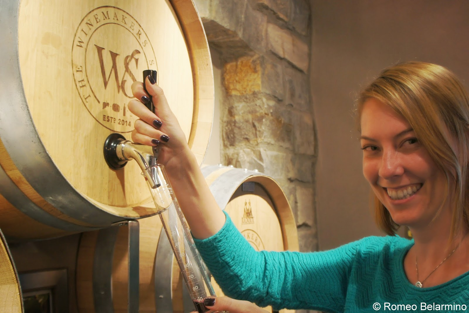 Measuring Wine at Wente's Winemakers Studio Livermore California