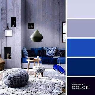 Pilihan Tema Warna dengan Variasi Warna Cat Rumah Biru