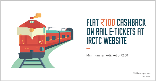 (New) FreeCharge IRCTC Offer - Flat Rs.100 Cashback on Rail E-Ticket Booking