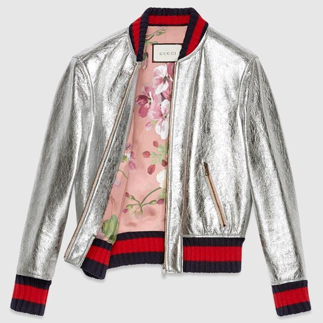 Gucci銀色光澤飛行外套 撞衫