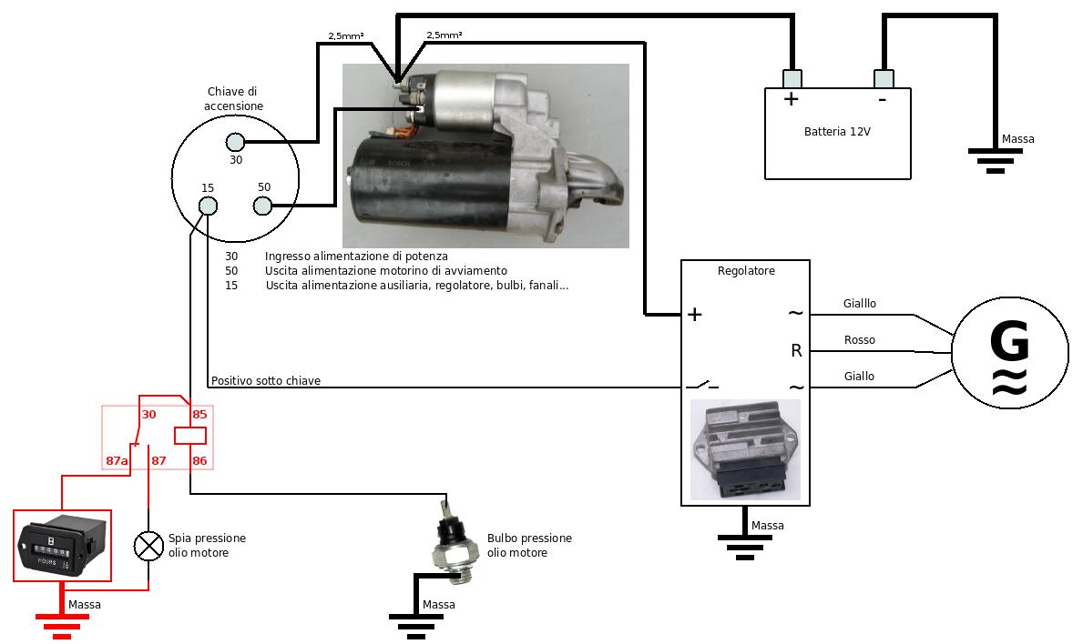 Schema Elettrico Motorino Avviamento : Andrea urbini homepage contaore elettrico per motore diesel