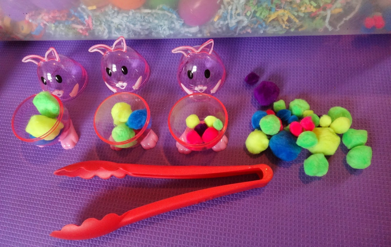 Easter sensory bin size sorting and fine motor