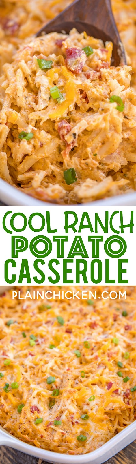 Cool Ranch Potato Casserole - great make ahead and freezer side dish! Potatoes loaded with taco seasoning, ranch and diced tomatoes and green chiles. Great for potlucks! Shredded frozen hash browns, cream of chicken soup, sour cream, diced tomatoes and green chiles, cheddar cheese, taco seasoning and ranch dressing mix. Our whole family went crazy over this easy potato casserole!! Great for taco night! #casserole #potatocasserole #mexicanrecipe #taconight