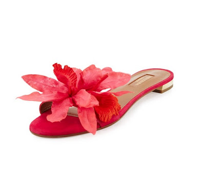 Aquazzura Flore Suede One-Band Slide Sandal