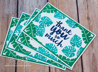 Tropical Thank You Cards made with Stampin' Up! UK Supplies.  Buy Stampin' Up! UK here