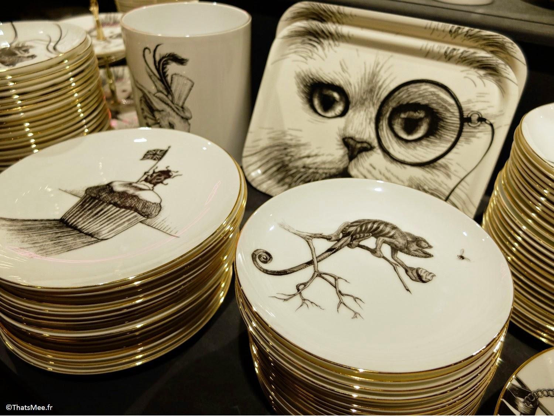 Déco céramique vaisselle assiette cupcake chat monocle Rory Dobner exclusivité Libert London regent street