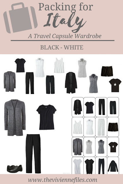 What to pack for travel to Italy; A travel capsule wardrobe in black and white