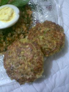 barley in pasta sauce and corn-mung cutlets
