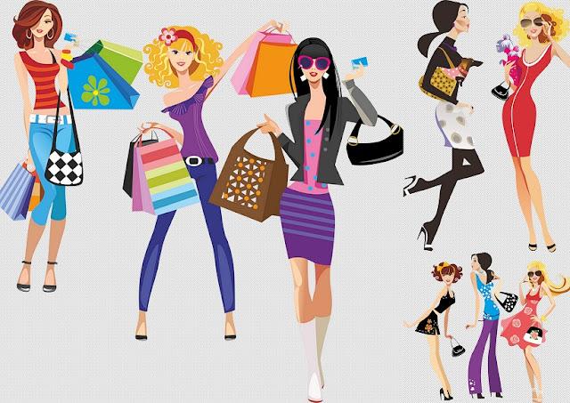 Chicas Yendo de Compras.