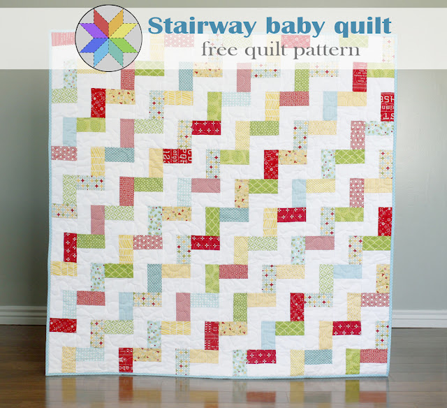 Stairway baby quilt - a free quilt pattern from A Bright Corner