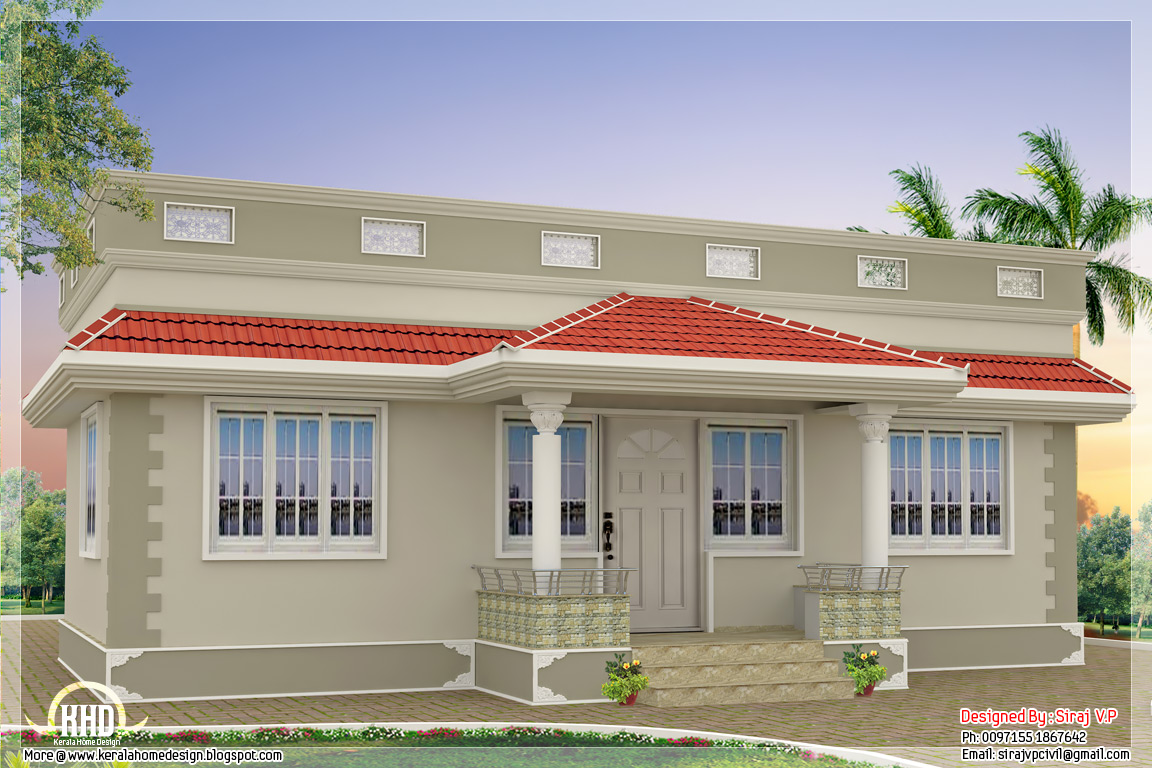1000 kerala style single floor 3 bedroom home for Single house design