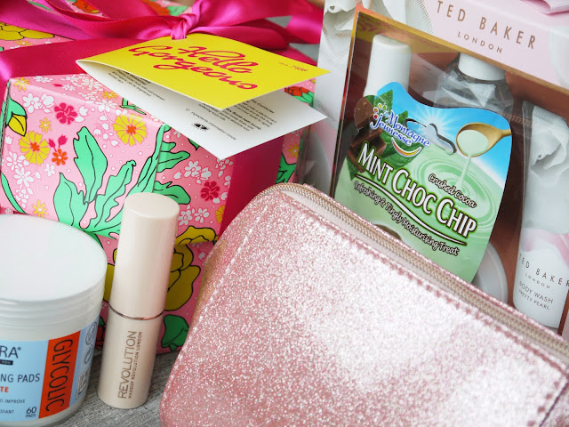 pink glittery makeup bag, lush hello gorgeous gift set in a pink box with green and yellow flower print