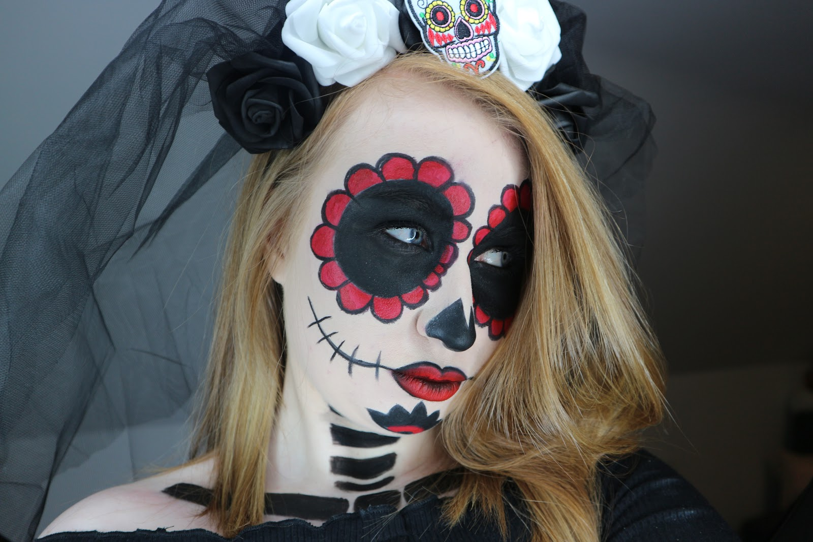 Day Of The Dead Halloween Makeup Tutorial Fake Nails Mascara - Day-of-the-dead-makeup-tutorial-video