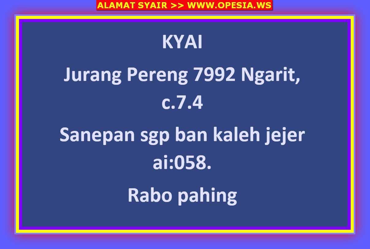 Kode syair Singapore Rabu 9 Oktober 2019 18