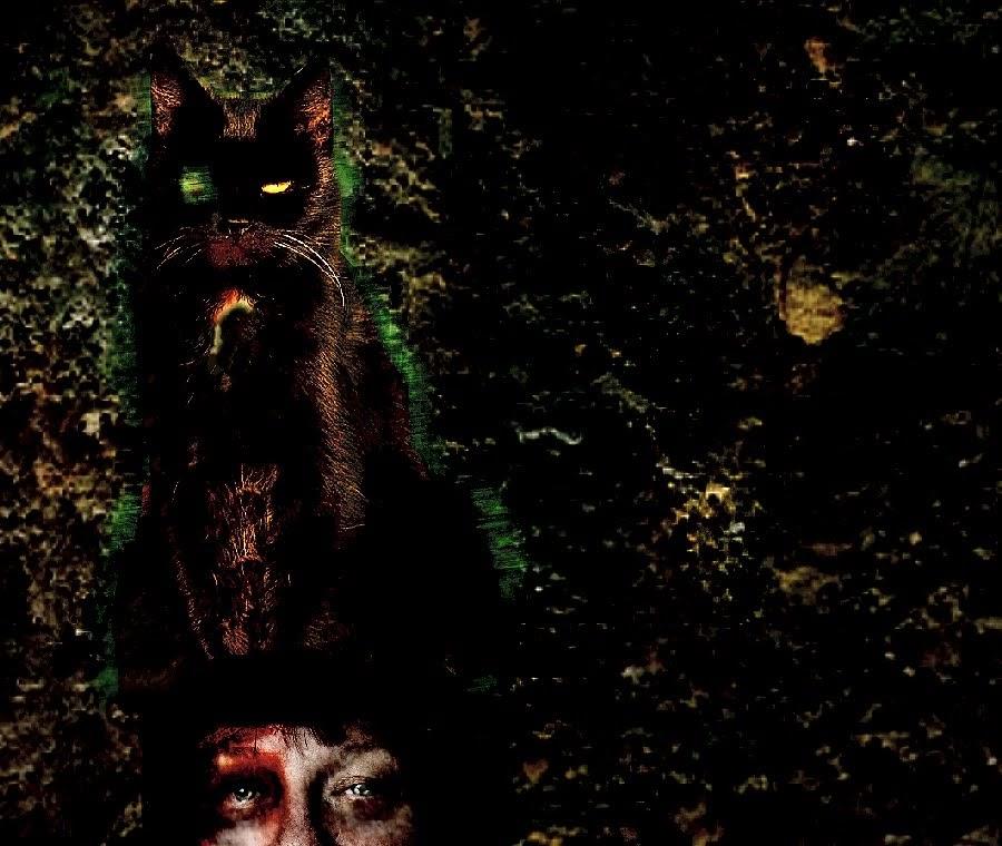 エドガー・アラン・ポーの『黒猫』のイメージ:妻の死体の頭の上に片目の黒猫が座っている