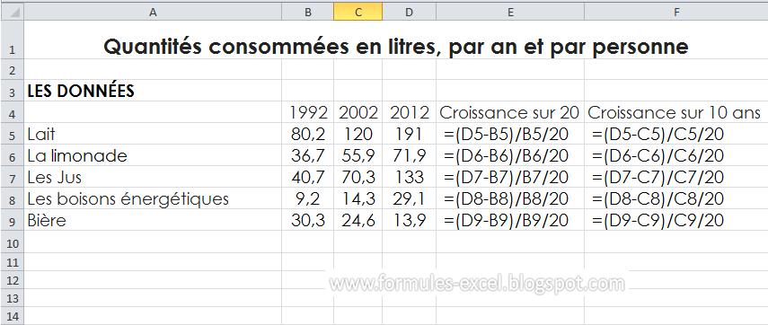 Formules Excel Evolution De Taux De Croissance Le Site Des
