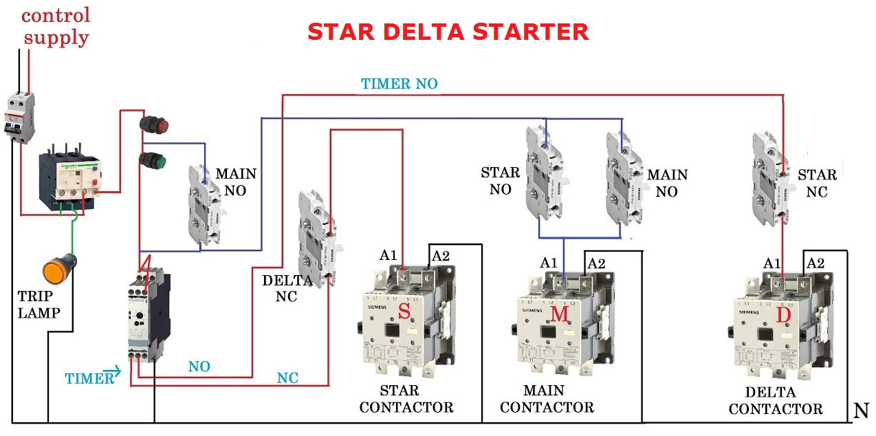 Control Wiring Diagram Of Star Delta Starter Library 3 Motor With Circuit In Hindi