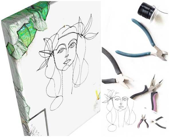 picaso, cuadros, decoracion, manualidades, alambre, abstracto
